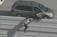 2 Suspects Jump Down 20 Feet Off Freeway Try To Escape From Police In Houston!