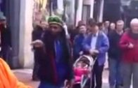 Man Has A Hard Time Figuring Out Street Performers Levitating Trick!