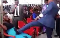Ghanaian Pastor Steps & Kicks Pregnant Woman In Her Belly During Prayer For Jesus! (Rewind Clip)