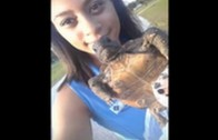 SMH: Girl On Snapchat Thinks She's Saving Gopher Tortoise Life By Throwing It Into A Pond!
