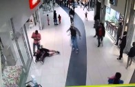 Thief Trying To Escape From A Shopping Centre Mall In South Africa Gets Rocked!