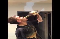 Crazy: Dude Guzzles A Whole Bottle Of Hennessy!