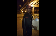 Rapper Nino Brown Gives Out Glasses Of Champagne To The Homeless!
