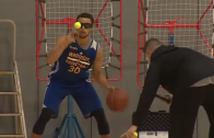Steph Curry Improves Dribbling Skills Using Tennis Balls And Vision-Impairing Glasses!