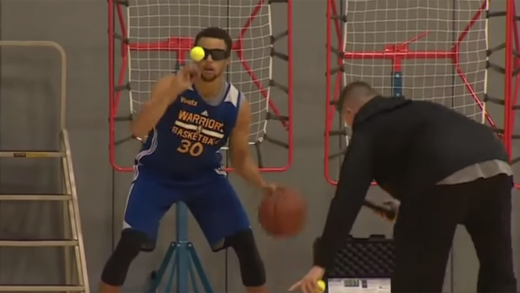 Steph-Curry-Improves-Dribbling-Skills-Using-Tennis-Balls-And-Vision-Impairing-Glasses!